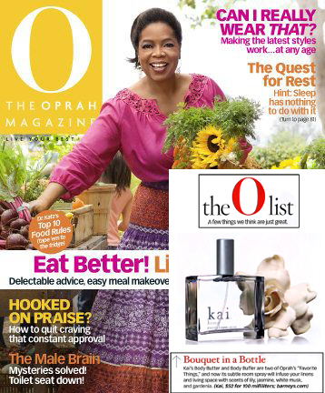 Kai Room Spray in Oprah Magazine!